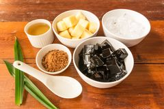 Grass jelly dessert herbal gelatin or jelly black Royalty Free Stock Photography