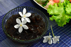 Grass jelly with flower. Dessert cups of Grass jelly with flower Stock Photo
