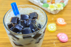 Grass jelly in glass Stock Photos