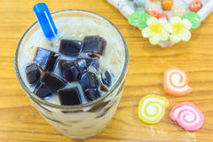 Grass jelly in glass Stock Photography