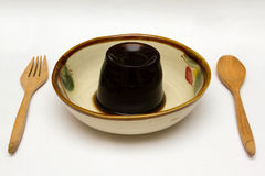 grass jelly or leaf jelly dessert in a bowl Stock Image