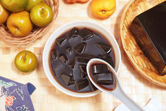 Grass jelly. Is a popular dessert in Taiwan Stock Photos