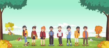 Cute cartoon kids. Grass landscape with cute cartoon kids Royalty Free Stock Images