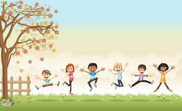 Grass landscape with cute cartoon kids. Green grass landscape with cute cartoon kids Royalty Free Stock Photography