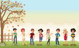 Grass landscape with cute cartoon teenagers. Stock Photography