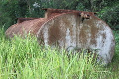 Grass and a large water tank Stock Images