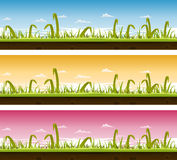 Grass And Lawn Landscape Set. Illustration of a set of seamless horizontal spring or summer landscapes with green blades of grass layers, thin and big leaves and Royalty Free Stock Image