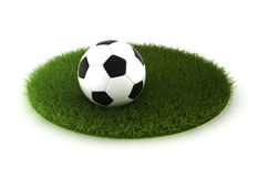 Grass lawn with soccer ball. 3d render on white Royalty Free Stock Photos