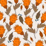 Grass and leaves. Seamless pattern grass and leaves on a Light grayish orange background. For printing on packaging, bags, cups, laptop, furniture, etc. Vector Royalty Free Stock Photography