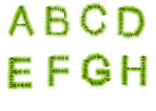 Grass letters A, B, C, D, E, F, G, H Royalty Free Stock Photography