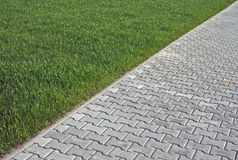 Grass and Locking stones. In diagonal border royalty free stock photography