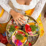 Grass and money - sacrifice at Balinese ceremonies. Religion. Stock Photos