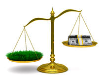 Grass and money on scales. Isolated 3D Stock Photo
