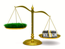 Grass and money on scales. Isolated 3D Stock Photos