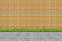 Grass and mortar wall Royalty Free Stock Image