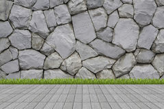 Grass and mortar wall Royalty Free Stock Photography