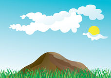 Grass and mountains in the spring stock illustration