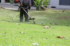 Grass mowing. Gardener mowing the grass by lawnmower Royalty Free Stock Images