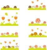 Grass mushroom set page, September, element Stock Photo