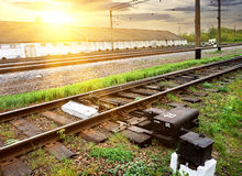 Grass near rails Royalty Free Stock Photography