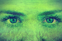 Grass overlay on a face Royalty Free Stock Photos