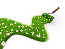 Grass paint. Paint roller painting a path covered with grass - 3d render Stock Photo