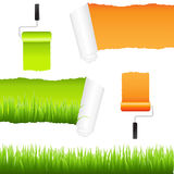 Grass And Paper Elements Royalty Free Stock Photo
