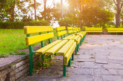 Grass park bench day Royalty Free Stock Photography