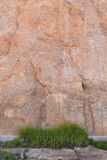 Grass patch rock wall. Grass patch in front of large rock wall stock photo