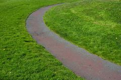 Grass Path #2. A lone path through a green field of grass Royalty Free Stock Photography