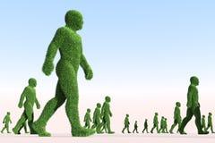 Grass people walking. Green people walking in one direction royalty free illustration