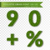 Grass percent, nine, zero, plus set. Green symbols, isolated on white transparent background. Green grass 3D numbers. Symbol nature, lawn, summer. Grass spring vector illustration