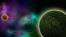 Grass planet. With rings made in 2d software Stock Photos