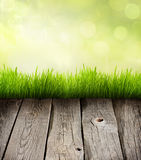 Grass and planks abstract  background Stock Photos