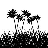 Grass plant silhouette design. Grass with flowers icon. Silhouette design. lawn plant nature and field theme. Vector illustration Stock Photography