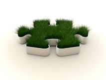 Grass. On puzzle on white background vector illustration