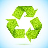 Grass Recycle. Illustration of recycle arrow made of grass on abstract background stock illustration