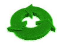 Grass recycle logo. An isolated green grass recycle logo on white background vector illustration