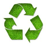 Grass Recycle Symbol. Recycle symbol made of grass over white vector illustration