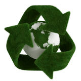 Grass recycle symbol with earth. 3d rendering of a grass recycle symbol with a grass earth in the center vector illustration