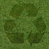 Grass recycle symbol. Green recycle symbol made with grass royalty free illustration