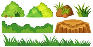 Grass and rocks in garden. Illustration Royalty Free Stock Photo
