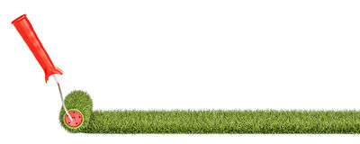 Grass with roller brush. Eco-friendly concept, 3D rendering. Grass with roller brush. Eco-friendly concept Royalty Free Stock Image