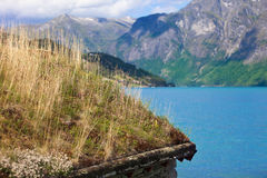 Grass roof in the Jostedalsbreen National Park Royalty Free Stock Photo