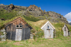 Grass roof sheds. Traditional sheds with grass roof at Nupsstadur farm, Southern Iceland Stock Images