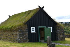 Grass roofed church Stock Photo