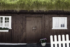 Grass-roofed house, Faroe Islands Royalty Free Stock Images
