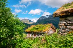 The grass-roofed houses in Norway Stock Images