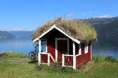 Grass roofed Hut. Typical grass roofed hut in Norway Royalty Free Stock Image