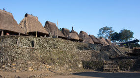 Grass rooftops at Bena a traditional village with grass huts of Ngada people in Flores. Stock Photo
